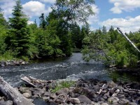 Logging dam remnants on the Namekagon River (National Park Service photo)