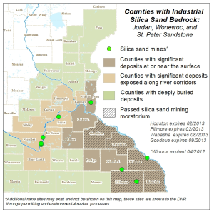 Map of Frac sand deposits in Minnesota